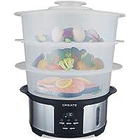 IKOHS Create Pot Steam - Vaporera Eléctrica 1.4L, Cocina hasta 3 Platos a la Vez, 5 Menús Preestablecidos y Modo Manual…