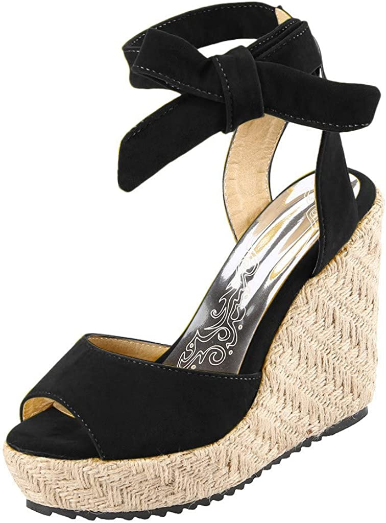 Womens Lace up Platform Wedges Sandals Classic Open Toe Ankle Strap Shoes Espadrille Sandal