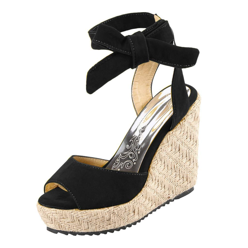 Womens Lace up Platform Wedges Sandals Classic Open Toe Ankle Strap Shoes Espadrille Sandals Black by sweetnice Women Shoes