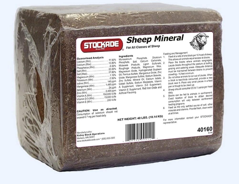 Sheep Mineral Block, 40 Lb - No Copper - for Fast Growing Quality Wool and General Health by Stockade