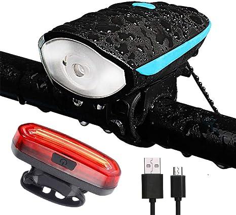 Techwills - Luz para Bicicleta con Cuerno, USB, Recargable ...
