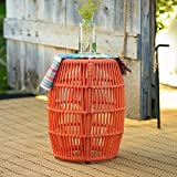 Garden Stool Made with Iron and Woven Rope for Indoor/Outdoor in Orange Finish 14W x 14D x 18H in.