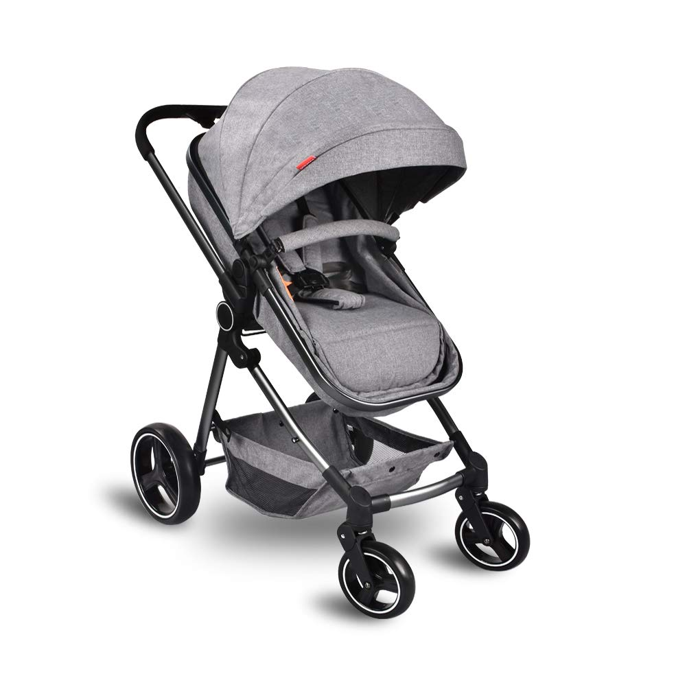 Cozylifeunion Baby Stroller, Convertible Bassinet Reclining Stroller, Foldable and Portable Pram Carriage Anti-Shock Pushchair with Aluminum Frame, 5-Point Harness and High Capacity Basket(Gray) by Cozylifeunion