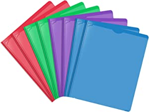 INFUN Plastic Folders with Prongs and Pockets,Heavy Duty Folders with Clear Front Pocket,Letter Size Multicolor Folders,8 Pack