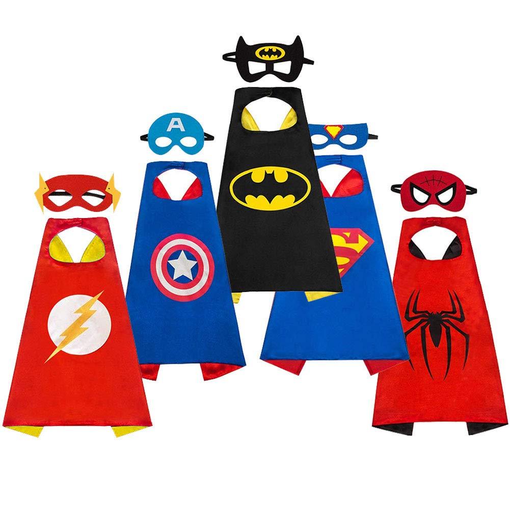 SAYOMOK Costumi da Supereroi per Bambini-Regali di compleanno - Costumi  Carnevale Mantelli e Maschere Giocattoli per Bambini e Bambine-5 Mantelli e  5 ... bd210038c14d