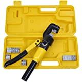 PENSON CAYQK007010 Hydraulic Wire Battery Cable Lug Terminal Crimper Crimping Tool, 9 Dies, 10 Ton
