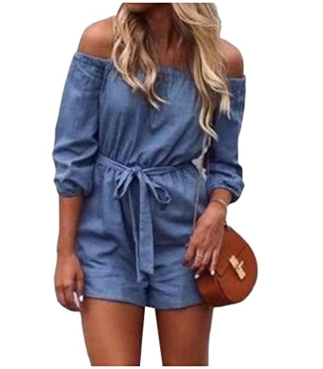 9a8dba389df Sexybaby Women Denim Lace Up Detail Off-Shoulder Thin Short Jumpsuit XS