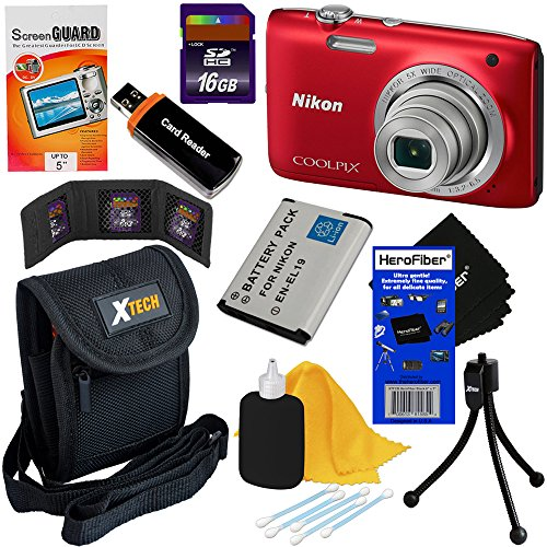 Nikon Coolpix S2800 20.1 MP Point and Shoot Digital Camera with 5x Optical Zoom and 720p HD Video - Red (Import) + EN-EL19 Battery + 8pc Bundle 16GB Accessory Kit w/ HeroFiber® Ultra Gentle Cleaning Cloth