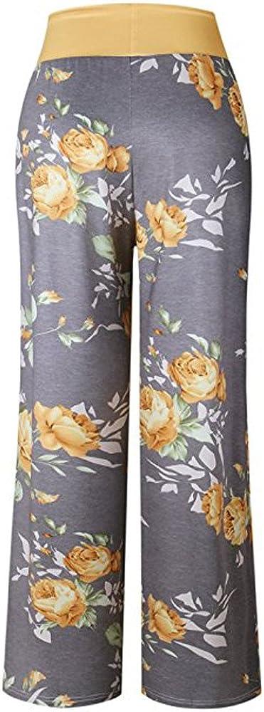 Kiyotoo Womens Comfy Casual Pajama Pants Stretch Floral Print High Waist Drawstring Palazzo Lounge Pants Wide Leg