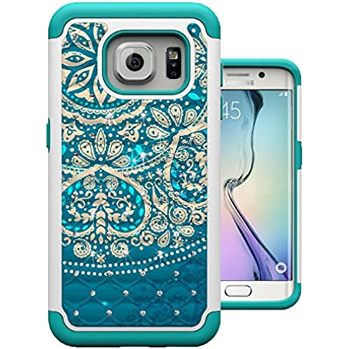 S7 Edge Case, MagicSky [Shock Absorption] Studded Rhinestone Bling Hybrid Dual Layer Armor Defender Protective Sales