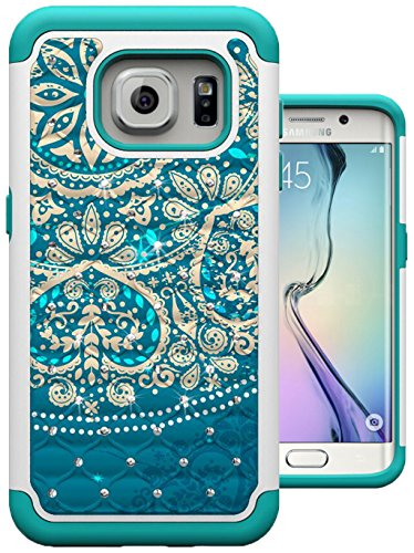 (S7 Edge Case, MagicSky [Shock Absorption] Studded Rhinestone Bling Hybrid Dual Layer Armor Defender Protective Case Cover for Samsung Galaxy S7 Edge (Flower))