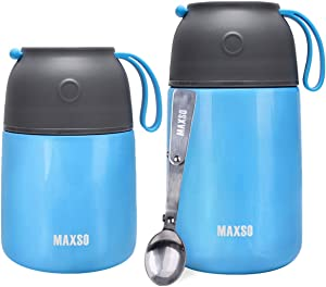 2 Pack Insulated Food Jar Thermos Stainless Steel Vacuum Bento Lunch Box for Kids Adult with Spoon Leak Proof Soup Container Hot Cold for School Offic Picnic Travel Outdoors