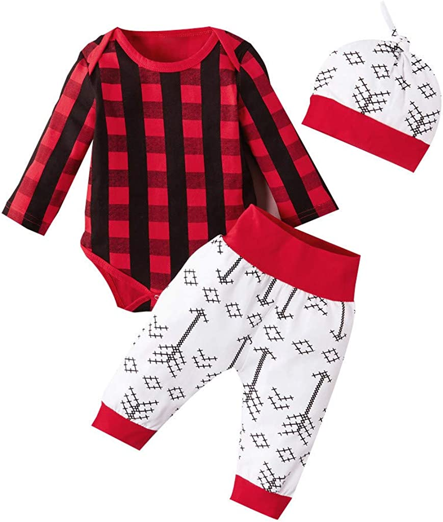 Infant 0-24 Months Baby Boys Girls Christmas Plaid Tops Romper +Christmas Tree Pants+Hat Outfit Set