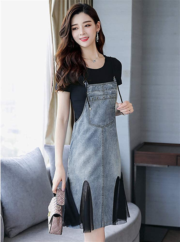 cd54f0a8cc Drasawee Womens Denim Overall Dress Suspender Jumper Jean Skirt with Shirt  1#XXL Clothing, Shoes & Jewelry