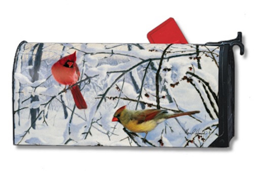 MailWraps Winter Morning Cardinal Mailbox Cover 01012