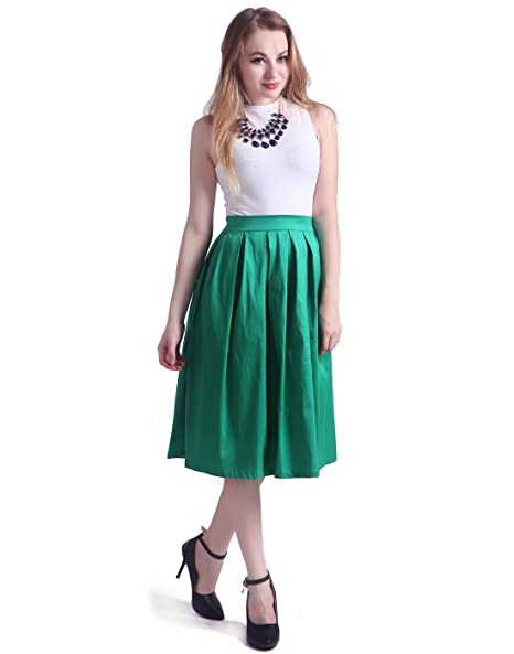 HDE Women's High Waist A Line Street Skirt Pleated Flared Full Midi Skirt (Sea Green, M)