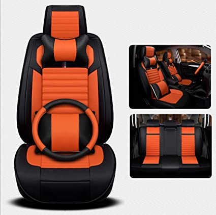 RUIX Car Seat Covers Leather 4 Seasons Universal Full Set Of 5 Seats Steering