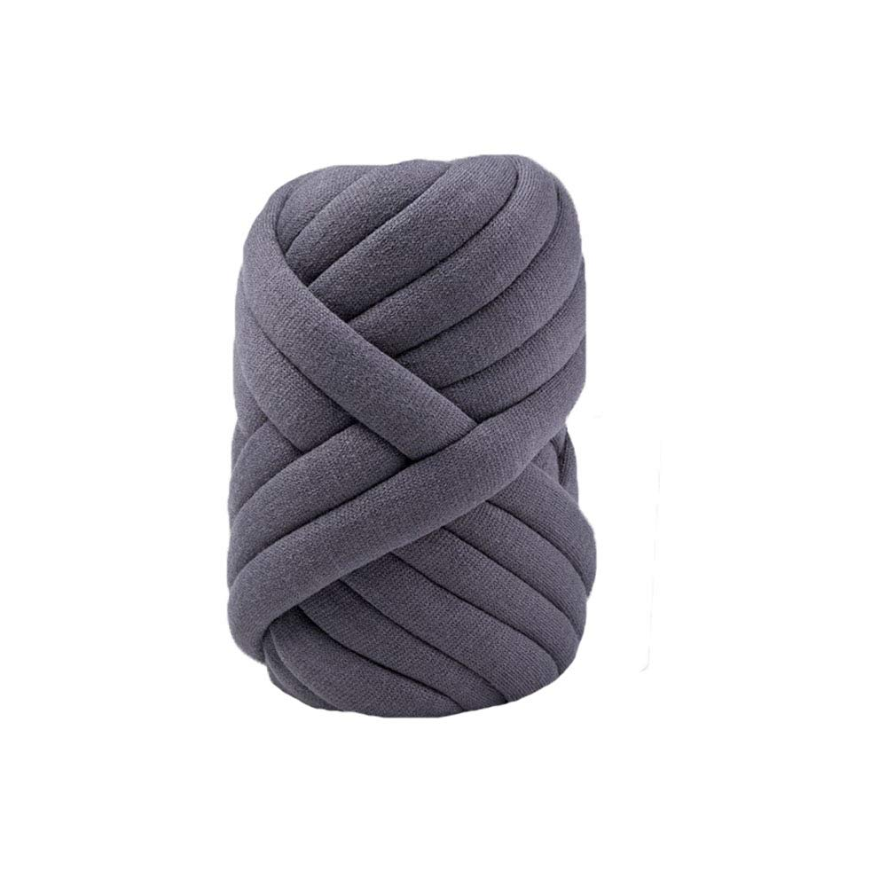 80 Meters Dark Grey Super Chunky Yarn Jumbo Roving Cotton Yarn Machine Washable Tube Cotton Yarn Giant Yarn DIY Chunky Blanket/Braid Rug/Cat Cave