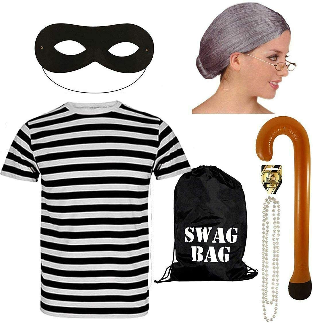 Gangser Gangsta Granny Robber Black Swag Bag Elasticated Eye Mask Fancy Dress
