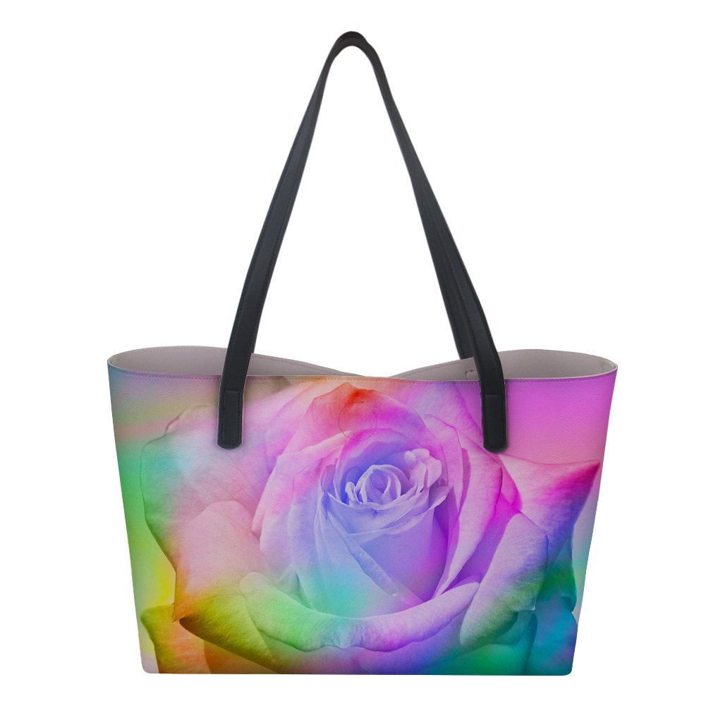 Shoulder Tote Bag Handbag Casual Work Travel Shopping Bags for Women Ladies Flower Colorful