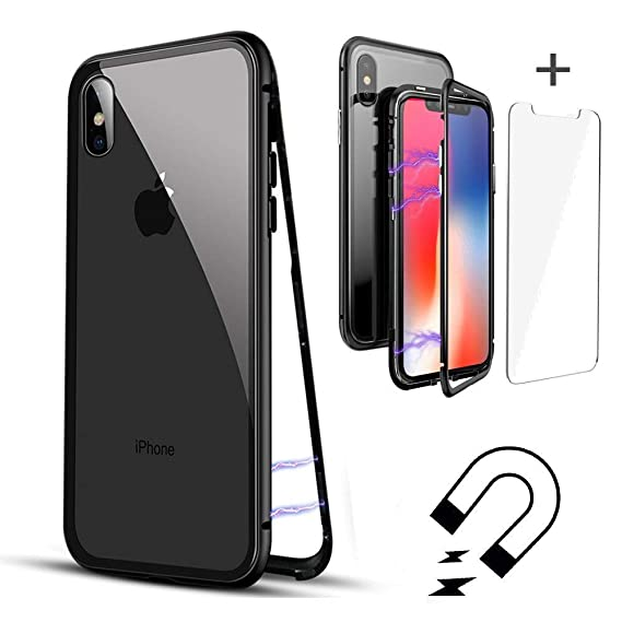 more photos 6913f d0dee QLTYPRI iPhone X iPhone Xs Case, Magnetic Adsorption Metal Case Aluminum 9H  Tempered Glass Back Cover [NO Front Tempered Glass] [Support Wireless ...