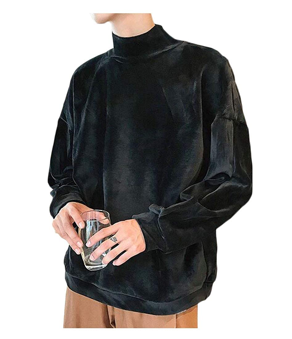 C/&H Mens Top Stylish All-Match Pullover Solid Fit Sweatshirts