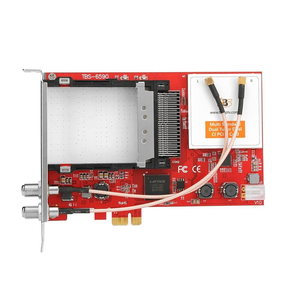 tbs6590/scheda PCIe doppio tuner TV universale Muti standard con doppio CI Slot per DVB-S2//S//S2/X//DVB-T2//T//DVB-C2//C//ISDB-T per la ricezione TNT Satelite e cavo
