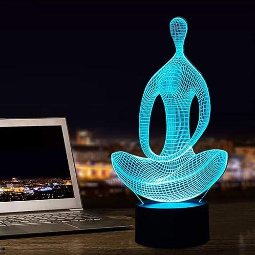 Óptica yoga 3d meditación Ilusión lámpara de de 0X8kwONnP