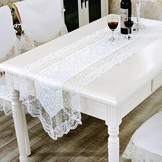 Cookware Dining Bar Lace Effect Table Runner Coffee Table Centre Cloth Dinning Decor Silver Kisetsu System Co Jp