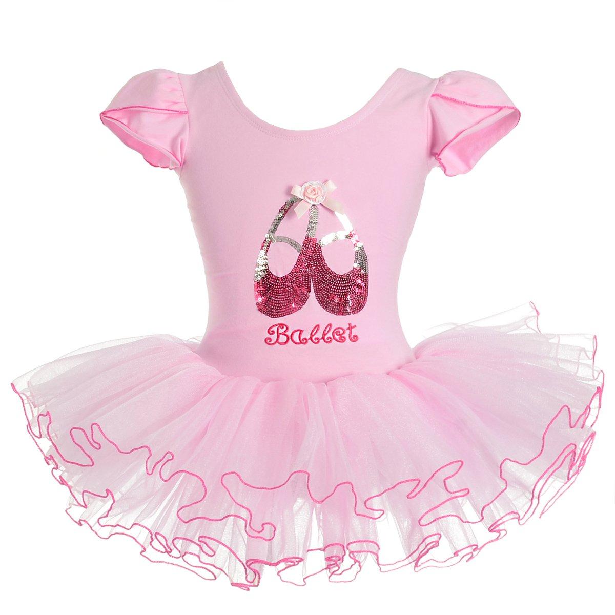 Dressy Daisy Girls 'キラキラバレリーナシューズバレエチュチュフェアリーダンスコスチューム B0144MIBJ6 ピンク 3-4T