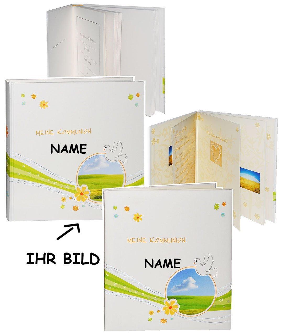 Unbekannt Set  Erinnerungsalbum   Tagebuch + Fotoalbum -  Meine Kommunion  incl. Name - Fotobuch   Fotoalbum   Kirche - mit Texten - für Mädchen & Jungen - Kinder Tau..