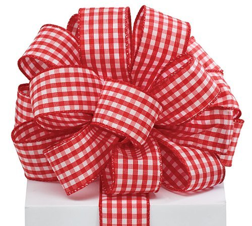 (Red Gingham Satin Wired Ribbon #9 1.5
