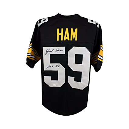 279d1a3fc9a Image Unavailable. Image not available for. Color: Jack Ham HOF Autographed  Pittsburgh Steelers Custom Black Football Jersey JSA B