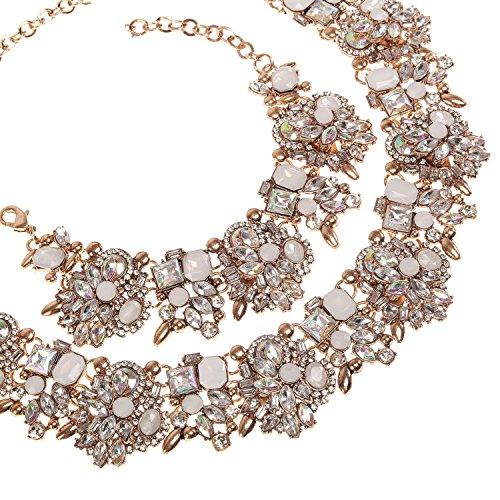 Holylove Chunky Crystal Necklace for Women Fashion Necklace Bracelet White 1 Set Retro Style Gift Box-8041SW3PCS by Holylove (Image #5)
