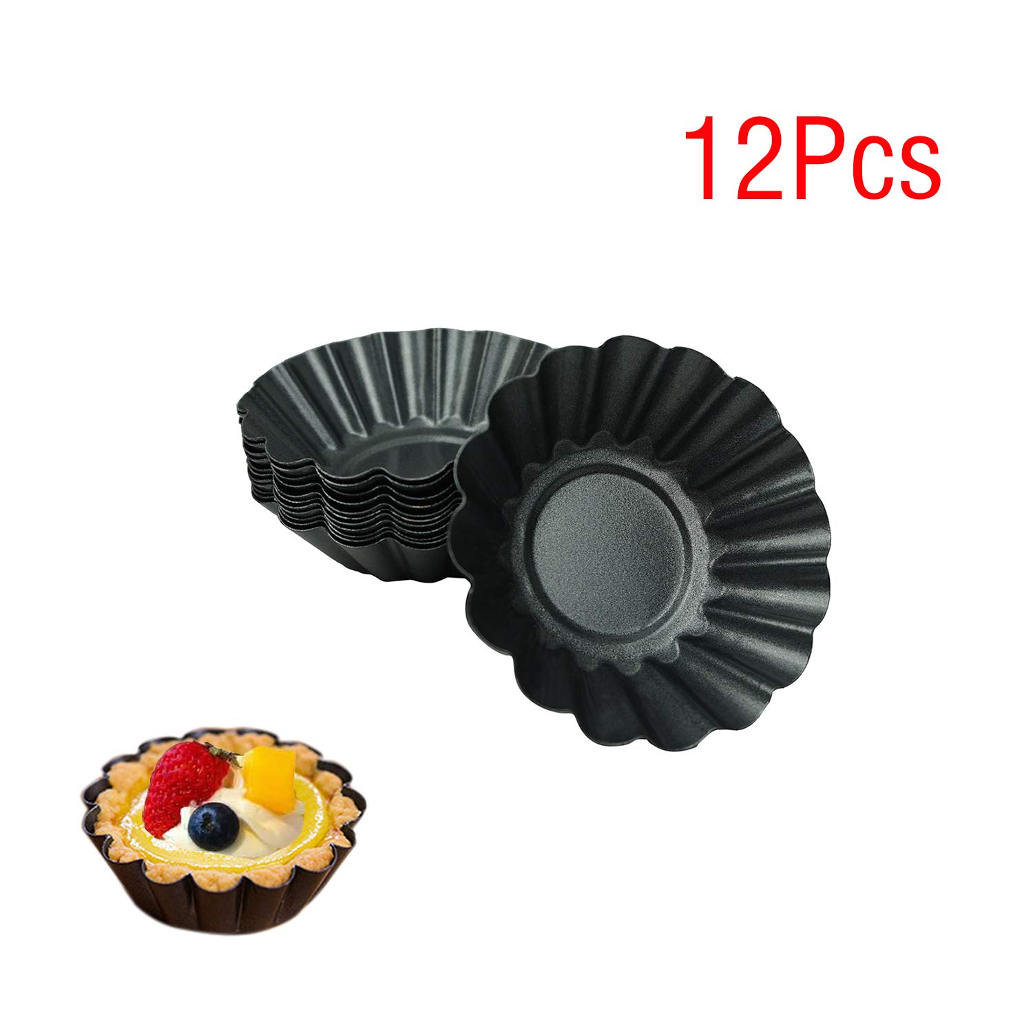 Proshopping 12 Packs Egg Tart Pan, Non-stick Carbon Steel Egg Tart Molds,Tartlet Tins,Mini Pie Mould, Muffin Cupcake Pudding Baking Cup Maker - for Pies, Chinese Egg Tart, Cakes (Biger Size 3''x 0.9'')