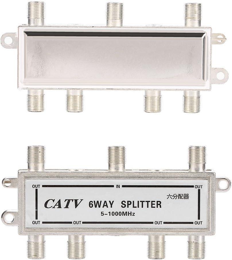 EBTOOLS 6 Way Splitter 6 Way Coax Cable Splitter 5-1000MHz CATV TV Antenna Coaxial Signal Split