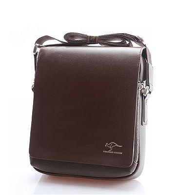 Pixnor Cuir véritable PU authentique kangourou Royaume sac à bandoulière Messenger sacs taille S marron hommes