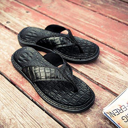 Cocodrilo Playa De LXXA Flops Zapatos Masculinos De De La De Flip Cuero Correas Deslizador De De Black Para Piel Verano Imitación Del Hombre IqvUI