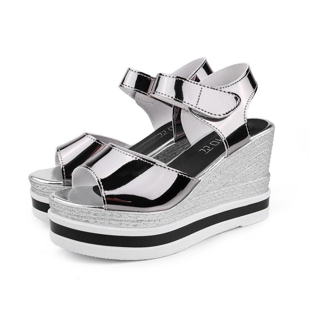 AmoonyFashion Women's Hook-and-Loop Open Toe Solid High-Heels PU Solid Toe Sandals 7.5 B(M) US|Gray B01IX83CW8 0f735b