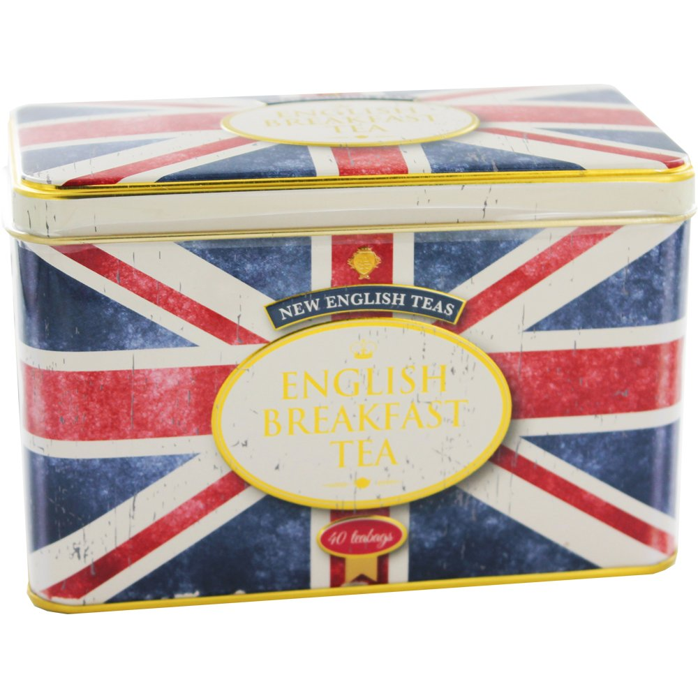 New English Teas Union Jack Tea Tin with 40 English Breakfast Teabags