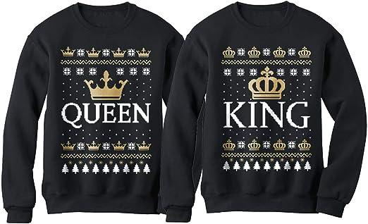 More King and Queen Crown Men Women Hoodies Jumper Sweater Top Sweatshirt Amazin