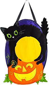 Evergreen Flag Jack-O-Lantern Cat Monogram Outdoor Safe Felt Door Decor