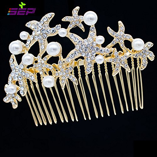 Crystals Rhinestone Starfish Hair Comb Pins for Bridal Wedding Hair Accessories Jewelry FA201592 (Golden)
