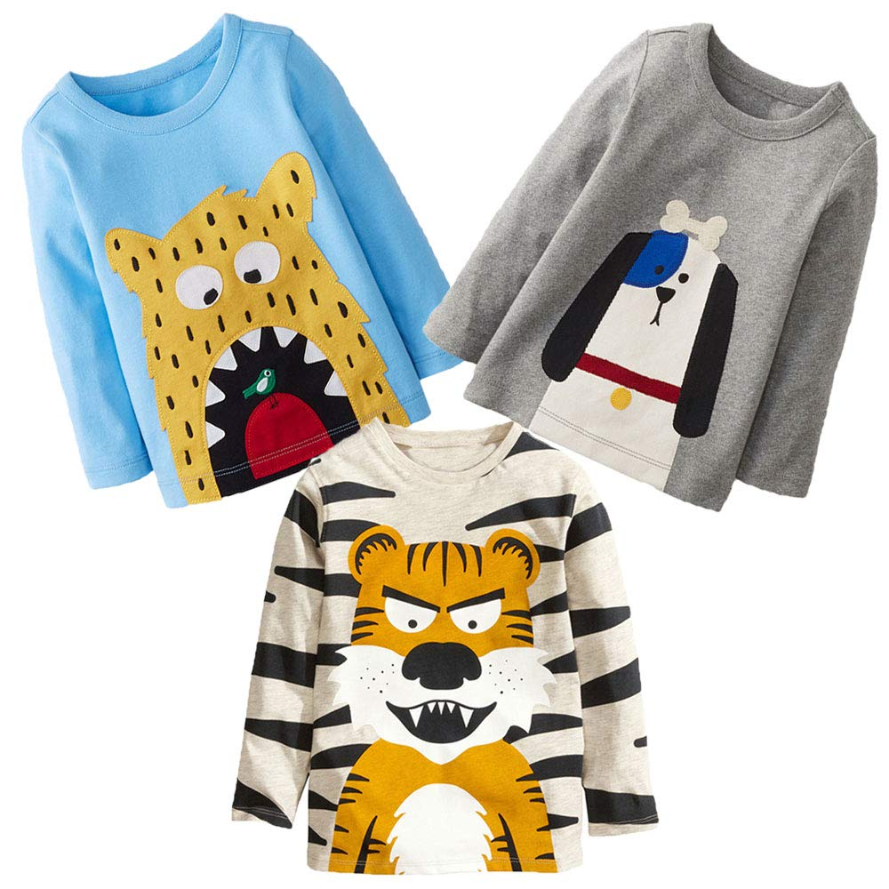 KIDSALON Little Boys' Cotton Crewneck Long Sleeve Cartoon T-Shirt (2T, animals02)