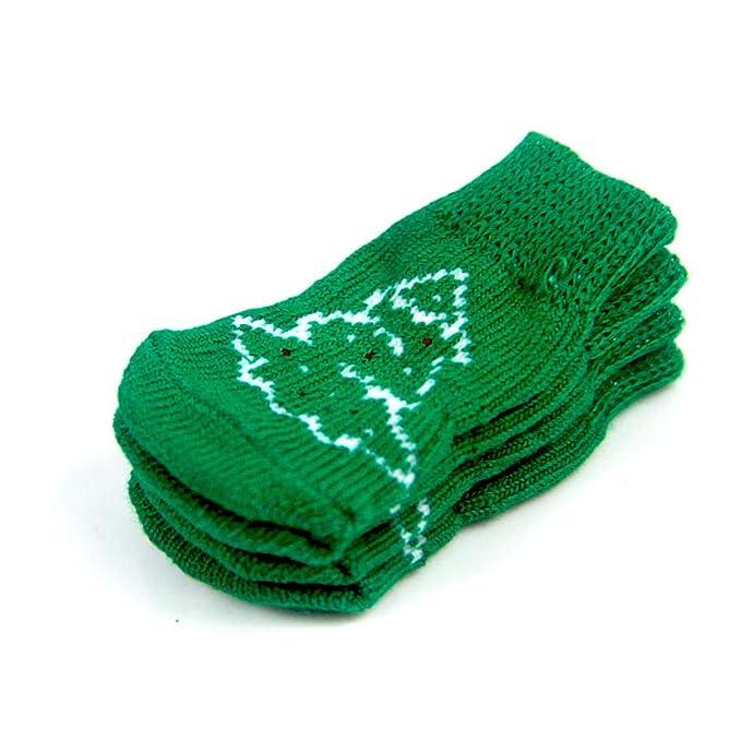Isuper Modelo del árbol de navidad Calcetines mascotas antideslizante navidad calcetines sucios Anti-calcetín Otoño Invierno calcetines calientes para el ...