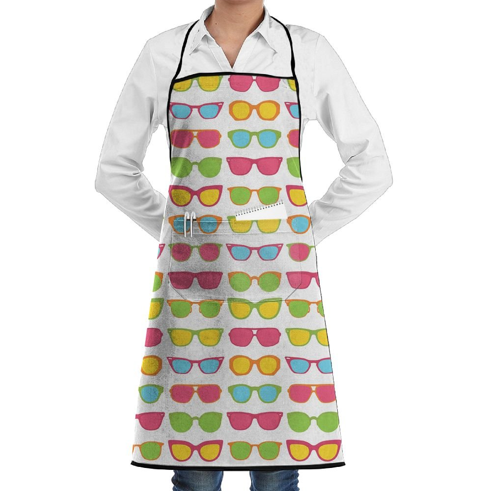 Kitchen Bib Apron Neck Waist Tie Center Kangaroo Pocket Sunglasses Colorful Waterproof