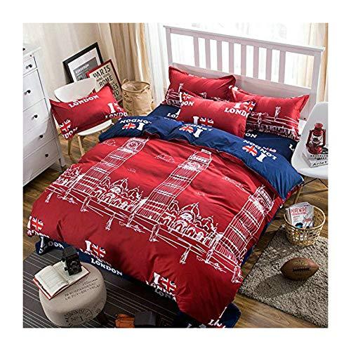 Kids/Adult Bedding Sets 4pcs/Set Bedsheet Duvet Cover Pillow Cases Twin Full Queen Size HM Famous City Design (Twin, London Red) ()