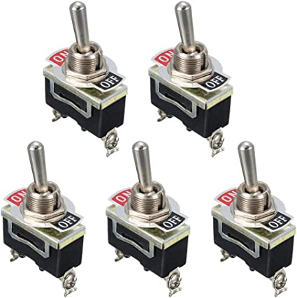 5 Pcs Heavy Duty 15A 250V SPST Control 2Pins 2 Terminal ON//OFF Toggle Rocker Switch Waterproof Boot For Car Boat Black /& Silver /& Red