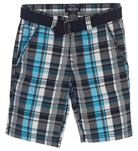 Gioberti Boys Plaid Shorts With Front Button & Zipper, Cyan/Black, Size - Shorts Cyan
