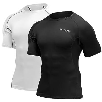 BALEAF Men's Short Sleeve Compression Shirts Gym Base Layer Compression Tops